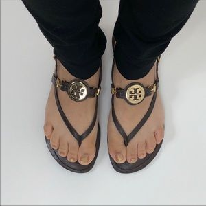 Tory Burch Brown Huxley Leather Sandals